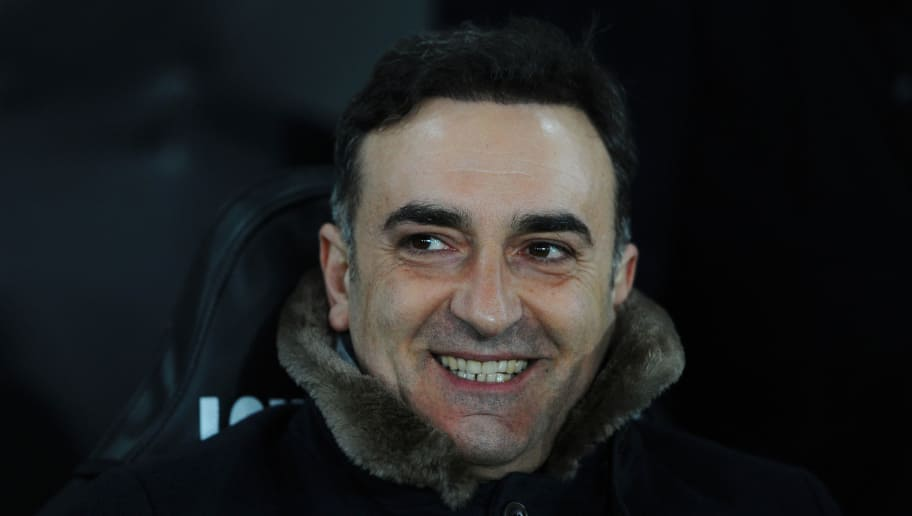 SWANSEA, WALES - FEBRUARY 27: Carlos Carvalhal of Swansea City looks on prior to the Emirates FA Cup Fifth Round Replay match between Swansea City and Sheffield Wednesday at Liberty Stadium on February 27, 2018 in Swansea, Wales.  (Photo by Harry Trump/Getty Images)