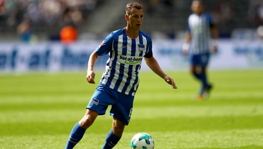 BERLIN, GERMANY - AUGUST 19:  Vladimir Darida of Berlin runs with the ball during the Bundesliga match between Hertha BSC and VfB Stuttgart at Olympiastadion on August 19, 2017 in Berlin, Germany.  (Photo by Martin Rose/Bongarts/Getty Images)