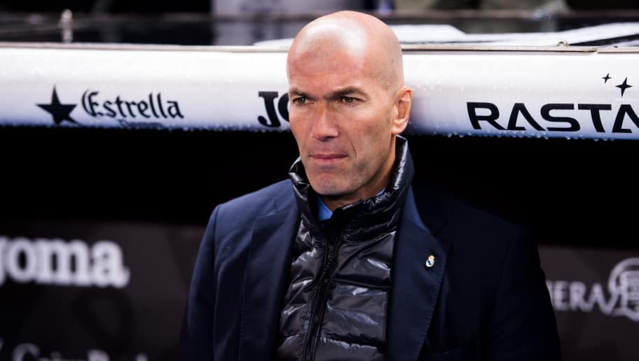 BARCELONA, SPAIN - FEBRUARY 27: Head coach Zinedine Zidane of Real Madrid CF looks on before the La Liga match between Espanyol and Real Madrid at RCDE Stadium on February 27, 2018 in Barcelona, Spain. (Photo by Alex Caparros/Getty Images)