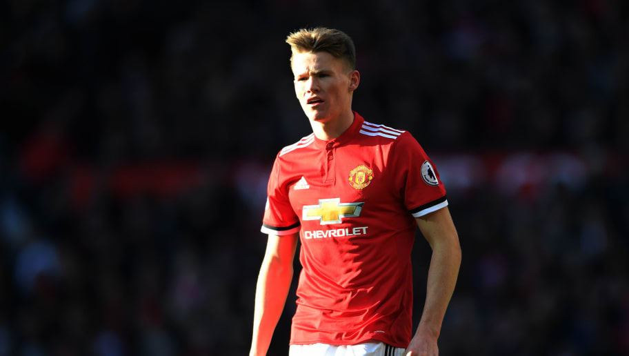 MANCHESTER, ENGLAND - FEBRUARY 25:  Scott McTominay of Manchester United looks on during the Premier League match between Manchester United and Chelsea at Old Trafford on February 25, 2018 in Manchester, England.  (Photo by Laurence Griffiths/Getty Images)