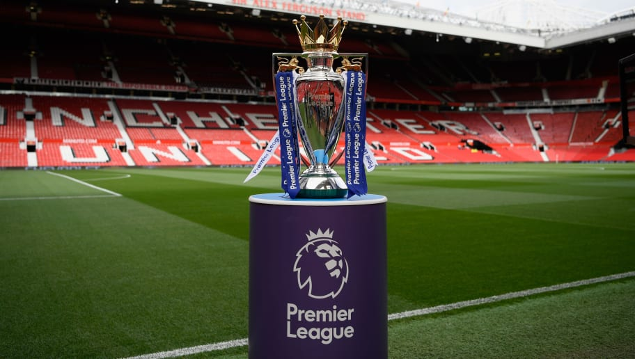 MANCHESTER, ENGLAND - SEPTEMBER 17:  The Premier League trophy is seen inside the stadium prior to the Premier League match between Manchester United and Everton at Old Trafford on September 17, 2017 in Manchester, England.  (Photo by Stu Forster/Getty Images)
