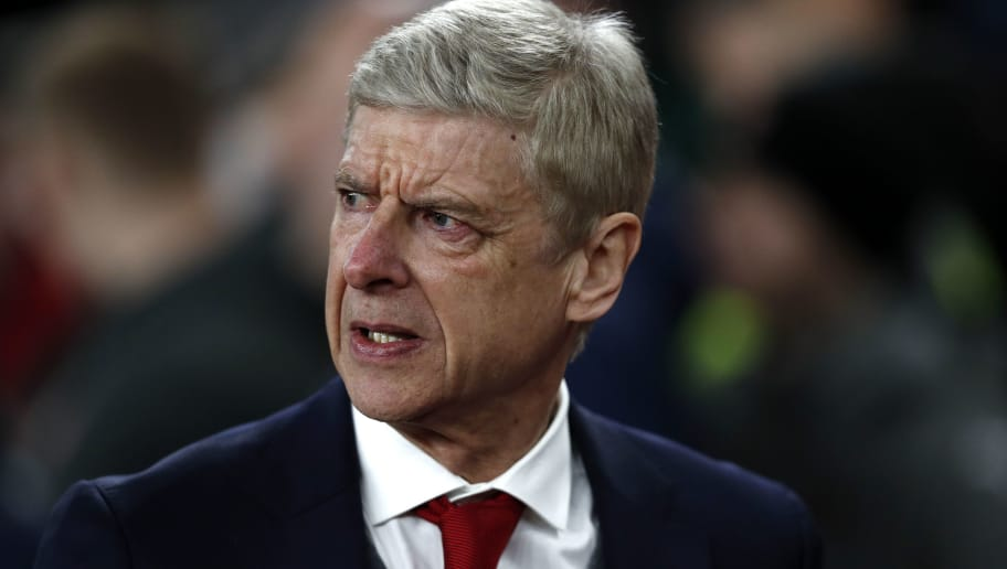 Arsenal's French manager Arsene Wenger arrives for the second leg of the Europa League Round of 32 football match between Arsenal and Ostersunds at the Emirates Stadium in London on February 22, 2018.  / AFP PHOTO / Adrian DENNIS / RESTRICTED TO EDITORIAL USE. No use with unauthorized audio, video, data, fixture lists, club/league logos or 'live' services. Online in-match use limited to 75 images, no video emulation. No use in betting, games or single club/league/player publications.  /         (Photo credit should read ADRIAN DENNIS/AFP/Getty Images)