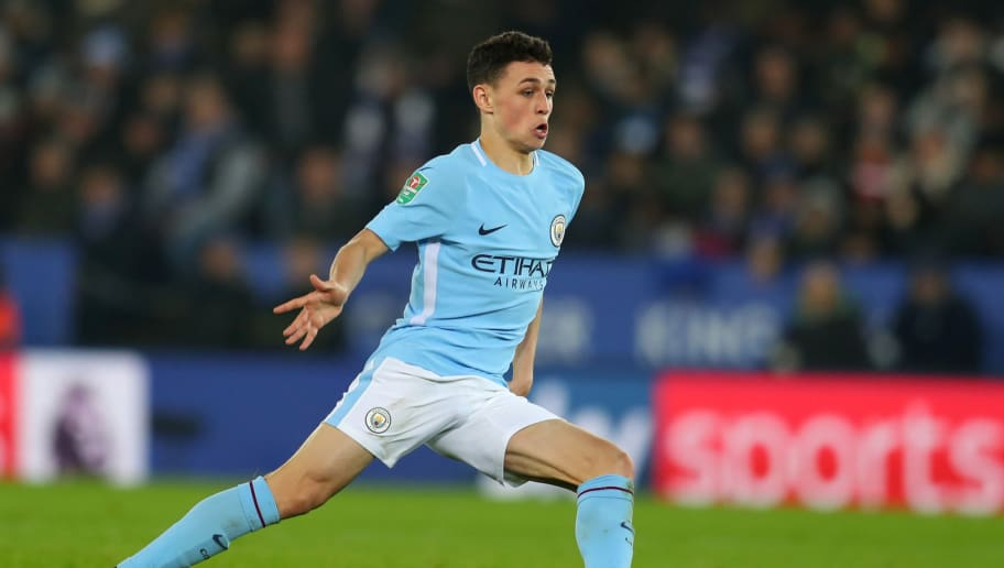 LEICESTER, ENGLAND - DECEMBER 19: Phil Foden of Manchester City during the Carabao Cup Quarter-Final match between Leicester City and Manchester City at The King Power Stadium on December 19, 2017 in Leicester, England. (Photo by Catherine Ivill/Getty Images)