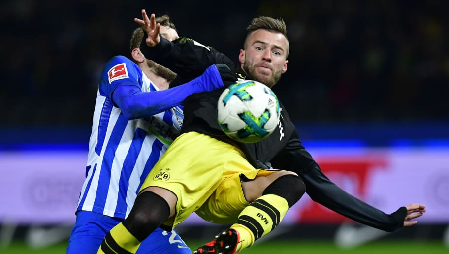 Dortmund's Ukrainian forward Andriy Yarmolenko plays the ball during the German first division Bundesliga football match Hertha BSC Berlin vs BVB Borussia Dortmund, in Berlin, western Germany, on January 19, 2018. / AFP PHOTO / Tobias SCHWARZ / RESTRICTIONS: DURING MATCH TIME: DFL RULES TO LIMIT THE ONLINE USAGE TO 15 PICTURES PER MATCH AND FORBID IMAGE SEQUENCES TO SIMULATE VIDEO. == RESTRICTED TO EDITORIAL USE == FOR FURTHER QUERIES PLEASE CONTACT DFL DIRECTLY AT + 49 69 650050         (Photo credit should read TOBIAS SCHWARZ/AFP/Getty Images)