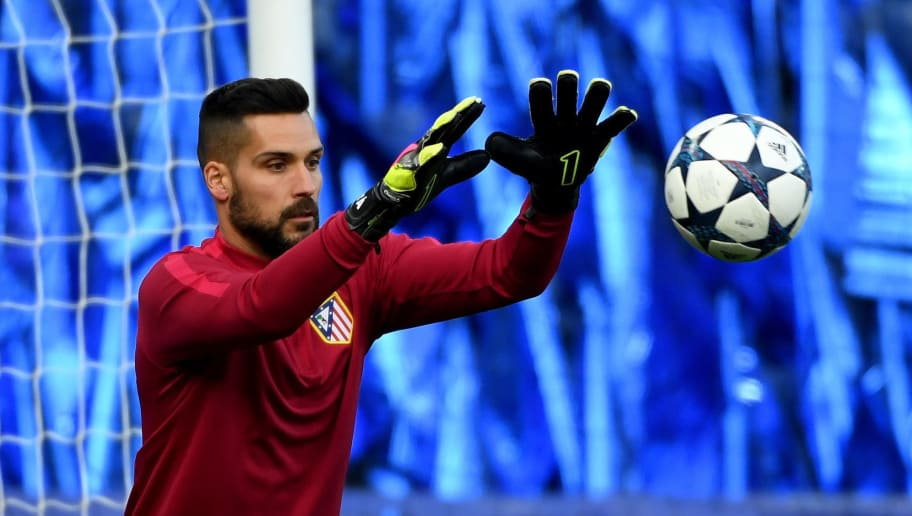 LEICESTER, ENGLAND - APRIL 17:  Miguel Angel Moya of Atletico Madrid during a training session at The King Power Stadium on April 17, 2017 in Leicester, England.  (Photo by Ross Kinnaird/Getty Images)