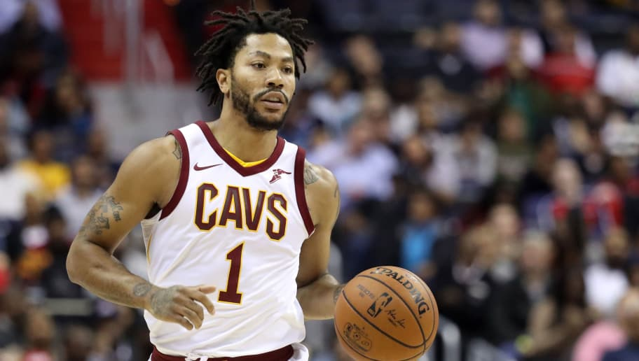 WASHINGTON, DC - NOVEMBER 3: Derrick Rose #1 of the Cleveland Cavaliers dribbles the ball against the Washington Wizards at Capital One Arena on November 3, 2017 in Washington, DC. NOTE TO USER: User expressly acknowledges and agrees that, by downloading and or using this photograph, User is consenting to the terms and conditions of the Getty Images License Agreement. (Photo by Rob Carr/Getty Images)