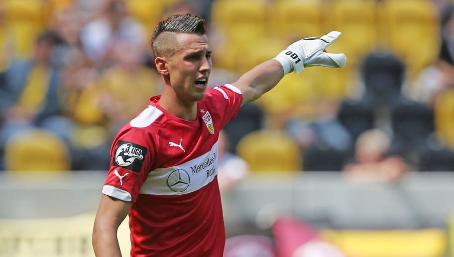 DRESDEN, GERMANY - JULY 26:  Goalkeeper Odisseas Vlachodimos of Stuttgart gestures during the third league match between SG Dynamo Dresden and VFB Stuttgart II at Gluecksgas-Stadion on July 26, 2014 in Dresden, Germany.  (Photo by Matthias Kern/Bongarts/Getty Images)