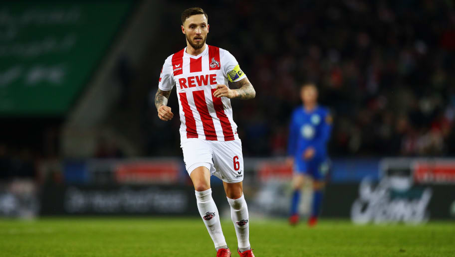 COLOGNE, GERMANY - DECEMBER 16:  Marco Hoger of FC Koeln in action during the Bundesliga match between 1. FC Koeln and VfL Wolfsburg at RheinEnergieStadion on December 16, 2017 in Cologne, Germany.  (Photo by Dean Mouhtaropoulos/Bongarts/Getty Images)