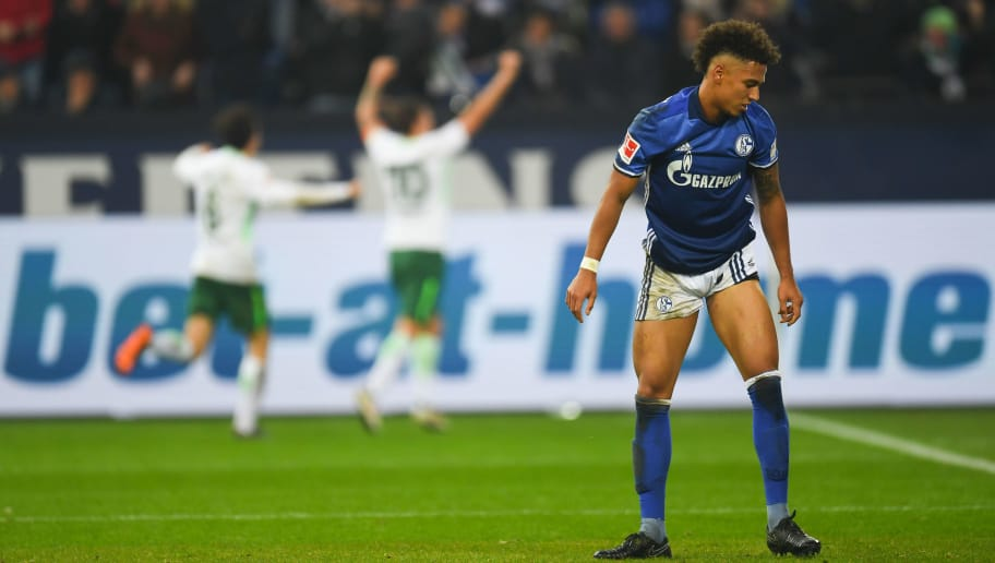 Schalke's German defender Thilo Kehrer reacts during the German first division Bundesliga football match Schalke 04 versus Werder Bremen on February 3, 2018 in Gelsenkirchen. / AFP PHOTO / Patrik STOLLARZ / RESTRICTIONS: DURING MATCH TIME: DFL RULES TO LIMIT THE ONLINE USAGE TO 15 PICTURES PER MATCH AND FORBID IMAGE SEQUENCES TO SIMULATE VIDEO. == RESTRICTED TO EDITORIAL USE == FOR FURTHER QUERIES PLEASE CONTACT DFL DIRECTLY AT + 49 69 650050         (Photo credit should read PATRIK STOLLARZ/AFP/Getty Images)