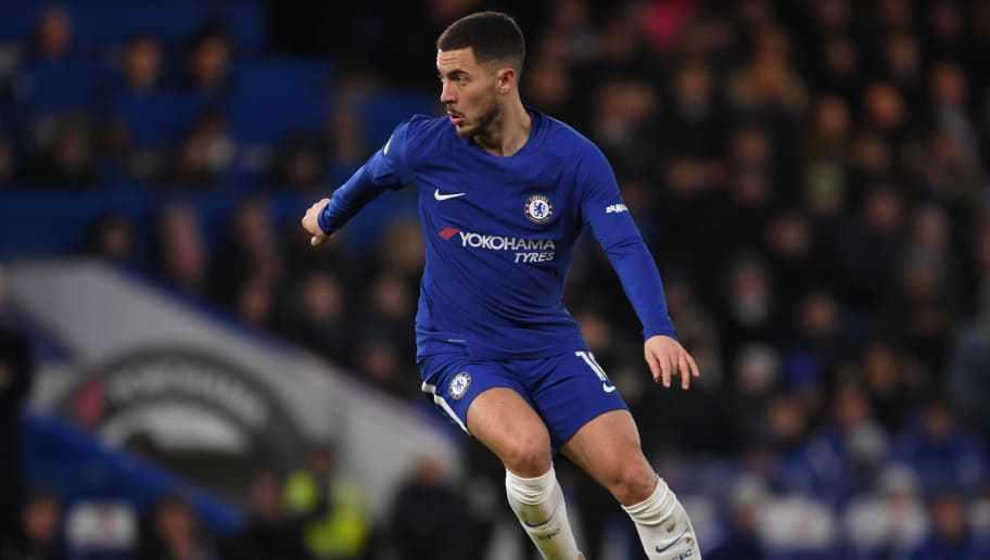 LONDON, ENGLAND - FEBRUARY 12:  Eden Hazard of Chelsea in action during the Premier League match between Chelsea and West Bromwich Albion at Stamford Bridge on February 12, 2018 in London, England.  (Photo by Mike Hewitt/Getty Images)