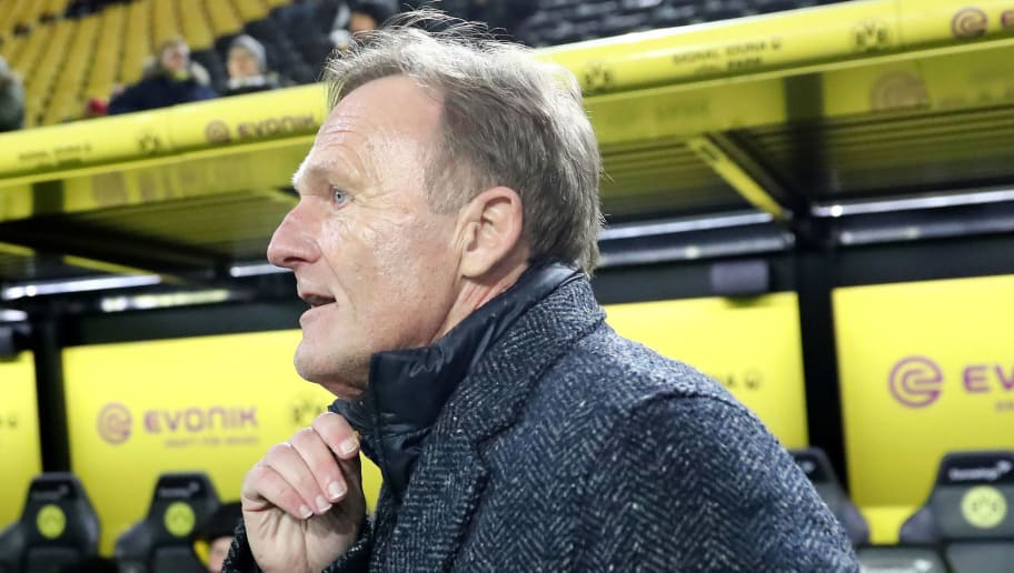 DORTMUND, GERMANY - FEBRUARY 26: Chairman Hans-Joachim Watzke of Dortmund is seen prior to the Signal Iduna Park prior to the Bundesliga match between Borussia Dortmund and FC Augsburg at Signal Iduna Park on February 26, 2018 in Dortmund, Germany. (Photo by Christof Koepsel/Bongarts/Getty Images)