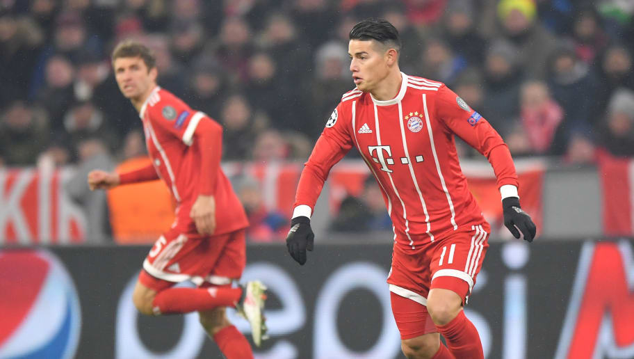 MUNICH, GERMANY - FEBRUARY 20: James Rodriguez of Bayern Muenchen plays the ball during the UEFA Champions League Round of 16 First Leg match between Bayern Muenchen and Besiktas at Allianz Arena on February 20, 2018 in Munich, Germany. (Photo by Sebastian Widmann/Bongarts/Getty Images)