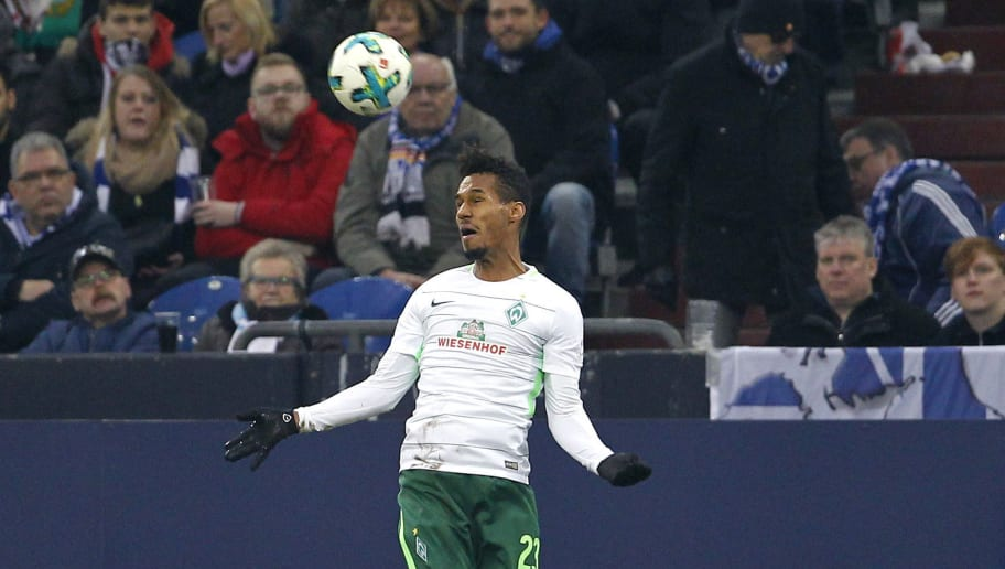 GELSENKIRCHEN, GERMANY - FEBRUARY 03:  Theodor Gebre Selassie of Bremen with a header during the Bundesliga match between FC Schalke 04 and SV Werder Bremen at Veltins-Arena on February 3, 2018 in Gelsenkirchen, Germany. (Photo by Mika Volkmann/Bongarts/Getty Images)