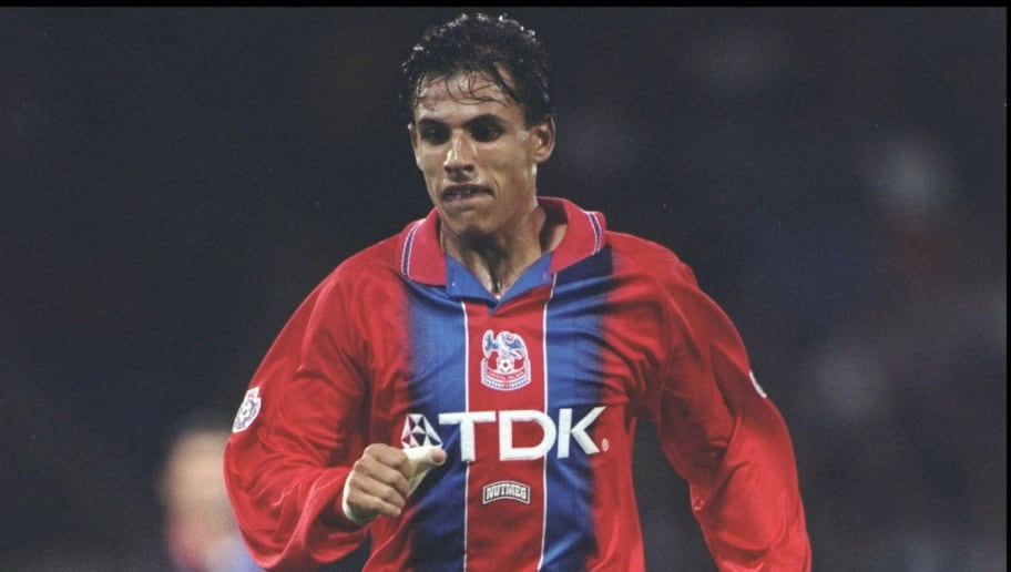 24 Oct 1995:  Chris Coleman of Crystal Palace in action during the Coca Cola Cup Third Round match against Middlesbrough at Selhurst Park in London. The match ended in a 2-2 draw. \ Mandatory Credit: Clive  Brunskill/Allsport