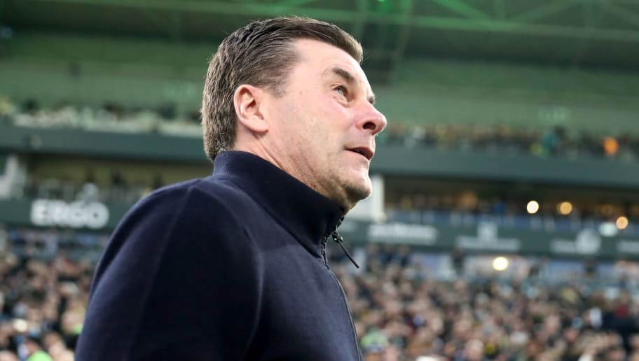 MOENCHENGLADBACH, GERMANY - FEBRUARY 18: Head coach Dieter Hecking Moenchengladbach looks on prior to the Bundesliga match between Borussia Moenchengladbach and Borussia Dortmund at Borussia-Park on February 18, 2018 in Moenchengladbach, Germany. (Photo by Christof Koepsel/Bongarts/Getty Images)