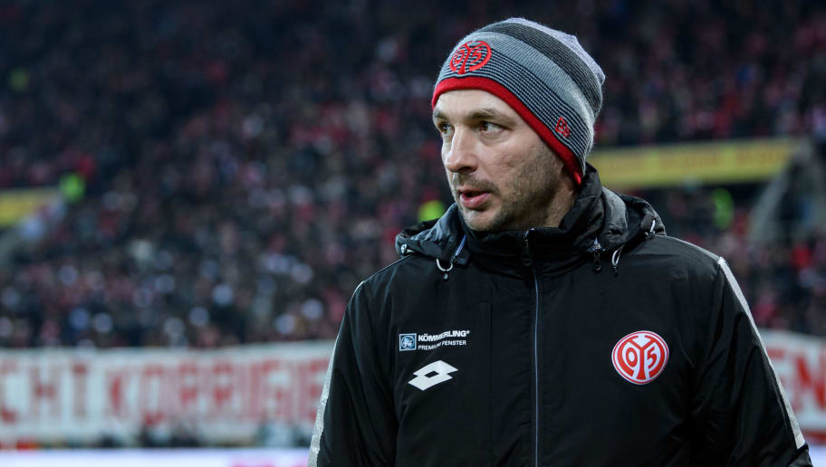 MAINZ, GERMANY - FEBRUARY 23: Head coachSandro Schwarz of Mainz is seen during the Bundesliga match between 1. FSV Mainz 05 and VfL Wolfsburg at Opel Arena on February 23, 2018 in Mainz, Germany. (Photo by Alexander Scheuber/Bongarts/Getty Images)