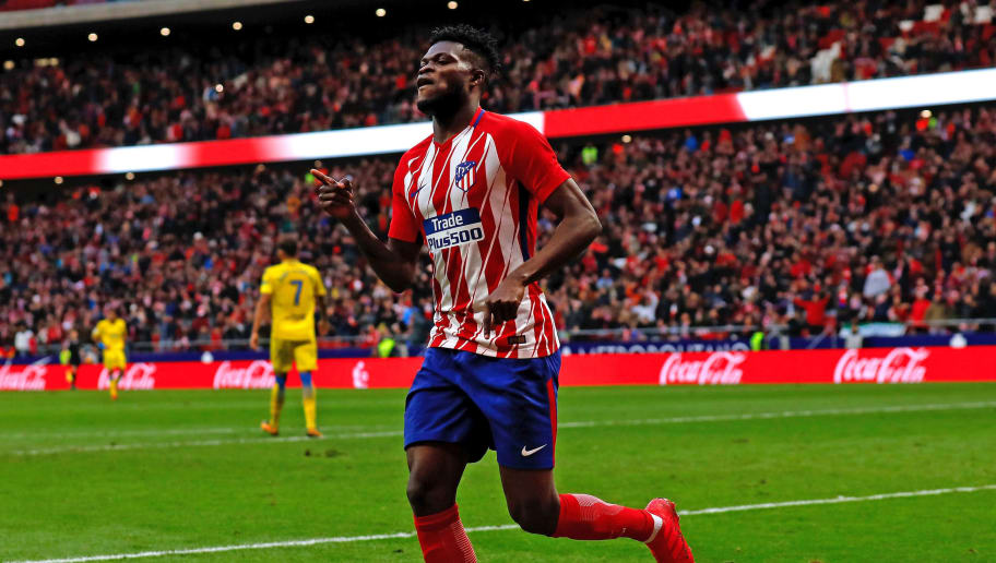 MADRID, SPAIN - JANUARY 28: Thomas Teye Partey of Atletico de Madrid celebrates scoring their third goal during the La Liga match between Club Atletico Madrid and UD Las Palmas at Estadio Wanda Metropolitano on January 28, 2018 in Madrid, Spain. (Photo by Gonzalo Arroyo Moreno/Getty Images)