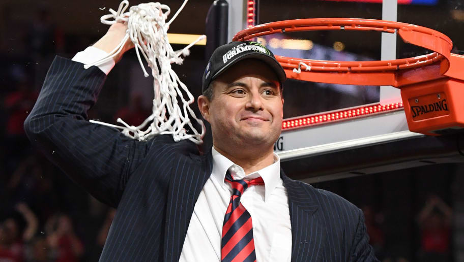 LAS VEGAS, NV - MARCH 11:  Head coach Sean Miller of the Arizona Wildcats celebrates after cutting down a net following the team's 83-80 victory over the Oregon Ducks to win the championship game of the Pac-12 Basketball Tournament at T-Mobile Arena on March 11, 2017 in Las Vegas, Nevada.  (Photo by Ethan Miller/Getty Images)