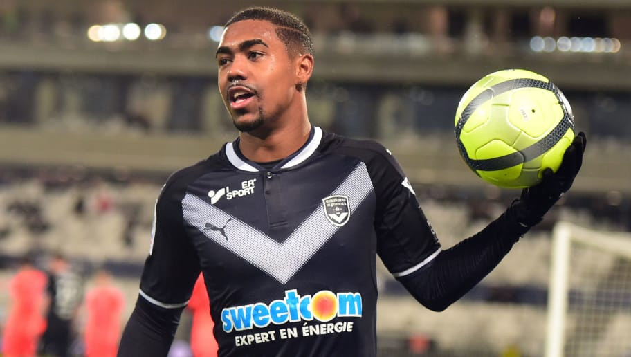 Bordeaux's Brazilian forward Malcom reacts during the French L1 football match between Bordeaux and Caen on January 16, 2018 at the Matmut Atlantique stadium in Bordeaux, southwestern France.  / AFP PHOTO / NICOLAS TUCAT        (Photo credit should read NICOLAS TUCAT/AFP/Getty Images)