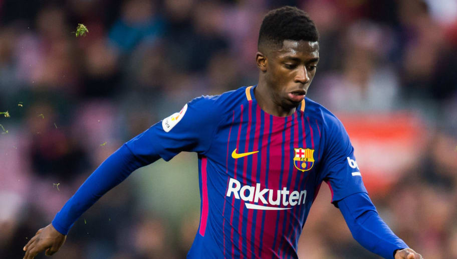 BARCELONA, SPAIN - JANUARY 07:  Ousmane Dembele of FC Barcelona conducts the ball during the La Liga match between Barcelona and Levante at Camp Nou on January 7, 2018 in Barcelona, Spain.  (Photo by Alex Caparros/Getty Images)