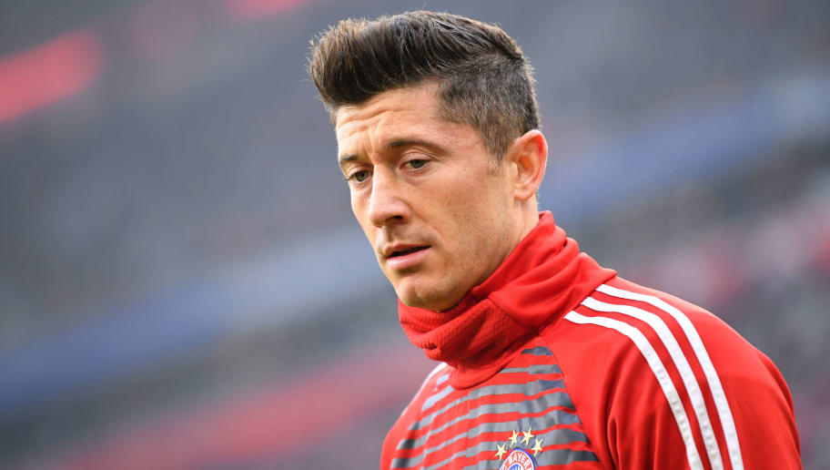 MUNICH, GERMANY - JANUARY 27: Robert Lewandowski of Muenchen looks on prior to the Bundesliga match between FC Bayern Muenchen and TSG 1899 Hoffenheim at Allianz Arena on January 27, 2018 in Munich, Germany. (Photo by Sebastian Widmann/Bongarts/Getty Images)