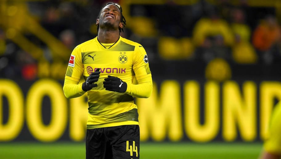 Dortmund's Belgian striker Michy Batshuayi reacts after the German first division Bundesliga football match Borussia Dortmund vs FC Augsburg, in Dortmund, western Germany, on February 26, 2018. / AFP PHOTO / Patrik STOLLARZ / RESTRICTIONS: DURING MATCH TIME: DFL RULES TO LIMIT THE ONLINE USAGE TO 15 PICTURES PER MATCH AND FORBID IMAGE SEQUENCES TO SIMULATE VIDEO. == RESTRICTED TO EDITORIAL USE == FOR FURTHER QUERIES PLEASE CONTACT DFL DIRECTLY AT + 49 69 650050         (Photo credit should read PATRIK STOLLARZ/AFP/Getty Images)