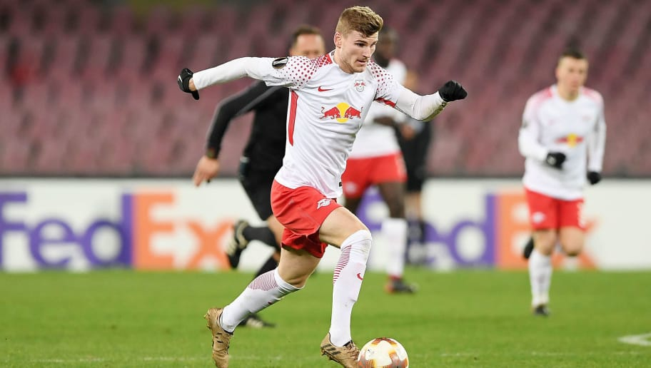 NAPLES, ITALY - FEBRUARY 15:  Timo Werner of RB Leipzig in action during UEFA Europa League Round of 32 match between Napoli and RB Leipzig at the Stadio San Paolo on February 15, 2018 in Naples, Italy.  (Photo by Francesco Pecoraro/Getty Images)