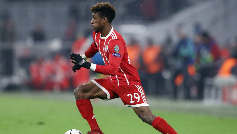 MUNICH, GERMANY - FEBRUARY 20:  Kingsley Coman of Muenchen controls the ball during the UEFA Champions League Round of 16 First Leg  match between Bayern Muenchen and Besiktas at Allianz Arena on February 20, 2018 in Munich, Germany.  (Photo by Alex Grimm/Bongarts/Getty Images)