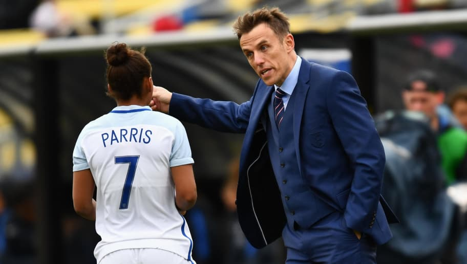 COLUMBUS, OH - MARCH 1:  Manager Phil Neville of England gives instructions to Nikita Parris #7 of England in  the first half against France on March 1, 2018 at MAPFRE Stadium in Columbus, Ohio.  (Photo by Jamie Sabau/Getty Images)