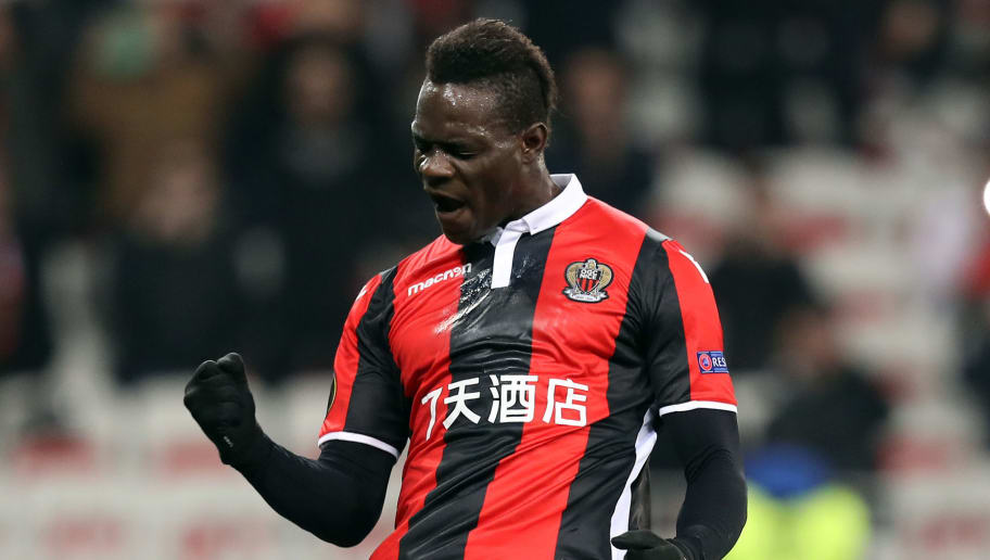 Nice's Italian forward Mario Balotelli celebrates after scoring a second goal during the UEFA Europa League football match between Nice and Lokomotiv Moscow on February 15, 2018, at the Allianz Riviera stadium in Nice, southeastern France.  / AFP PHOTO / VALERY HACHE        (Photo credit should read VALERY HACHE/AFP/Getty Images)