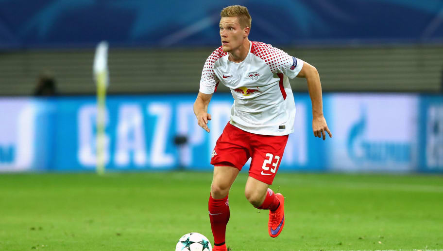 LEIPZIG, GERMANY - SEPTEMBER 13:  Marcel Halstenberg of Leipzig looks on during the UEFA Champions League group G match between RB Leipzig and AS Monaco at Red Bull Arena on September 13, 2017 in Leipzig, Germany.  (Photo by Alexander Hassenstein/Bongarts/Getty Images)