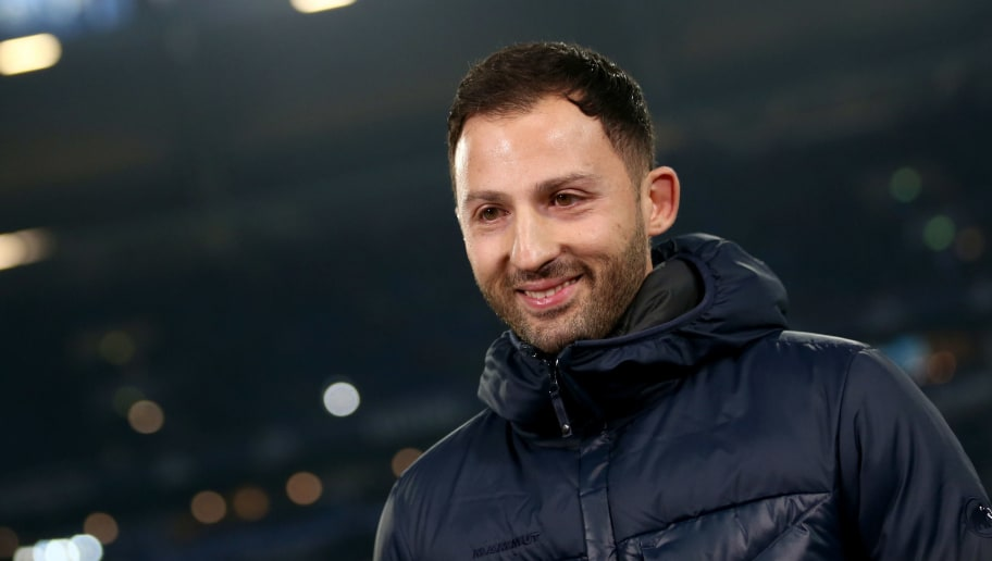 GELSENKIRCHEN, GERMANY - FEBRUARY 17: Head coach Domenico Tedesco of Schalke looks on prior to the Bundesliga match between FC Schalke 04 and TSG 1899 Hoffenheim at Veltins-Arena on February 17, 2018 in Gelsenkirchen, Germany. (Photo by Christof Koepsel/Bongarts/Getty Images)