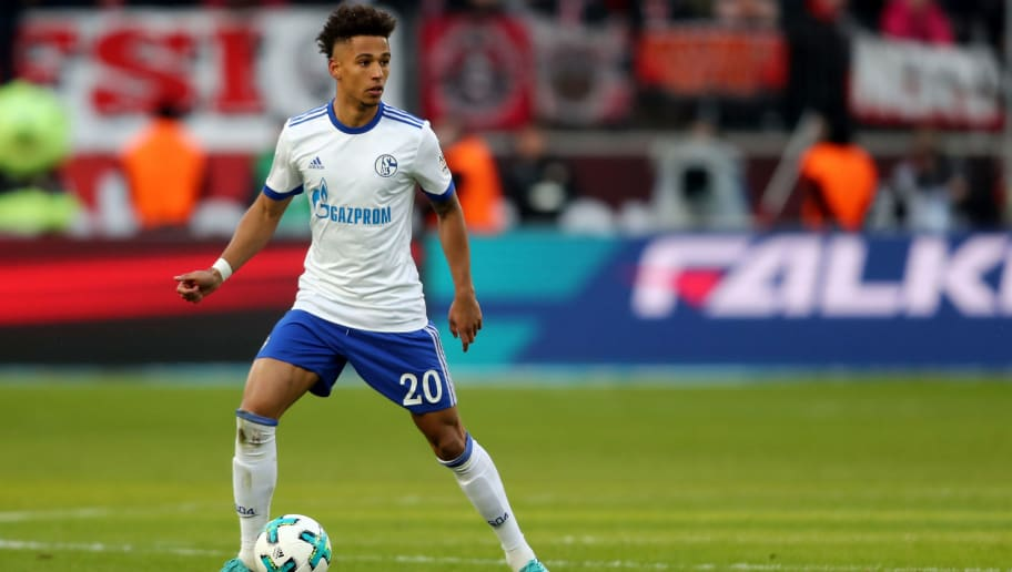 LEVERKUSEN, GERMANY - FEBRUARY 25: Thilo Kehrer of Schalke runs with the ball during the Bundesliga match between Bayer 04 Leverkusen and FC Schalke 04 at BayArena on February 25, 2018 in Leverkusen, Germany. (Photo by Christof Koepsel/Bongarts/Getty Images)