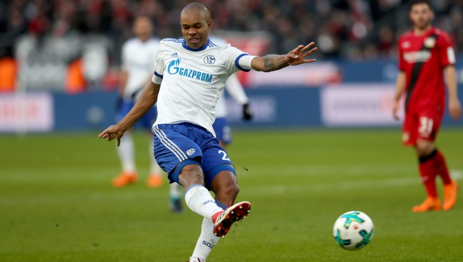 LEVERKUSEN, GERMANY - FEBRUARY 25: Naldo of Schalke runs with the ball during the Bundesliga match between Bayer 04 Leverkusen and FC Schalke 04 at BayArena on February 25, 2018 in Leverkusen, Germany. (Photo by Christof Koepsel/Bongarts/Getty Images)