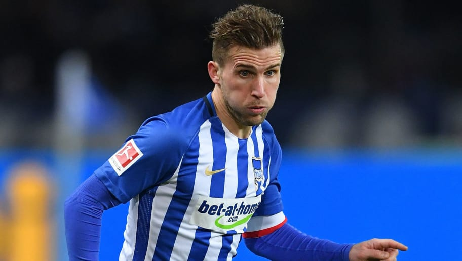 BERLIN, GERMANY - FEBRUARY 16:  Peter Pekarik of Berlin in action during the Bundesliga match between Hertha BSC and 1. FSV Mainz 05 at Olympiastadion on February 16, 2018 in Berlin, Germany.  (Photo by Stuart Franklin/Bongarts/Getty Images )