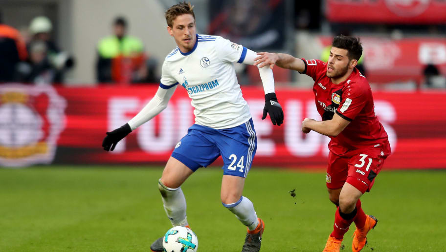 LEVERKUSEN, GERMANY - FEBRUARY 25: Kevin Volland of Leverkusen (R) challenges Bastian Oczipka of Schalke (L) during the Bundesliga match between Bayer 04 Leverkusen and FC Schalke 04 at BayArena on February 25, 2018 in Leverkusen, Germany. (Photo by Christof Koepsel/Bongarts/Getty Images)
