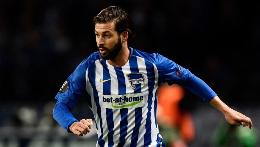 Berlin's German defender Marvin Plattenhardt runs with the ball during the UEFA Europa League group J football match Hertha Berlin v Athletic Bilbao in Berlin on September 14, 2017.  / AFP PHOTO / John MACDOUGALL        (Photo credit should read JOHN MACDOUGALL/AFP/Getty Images)