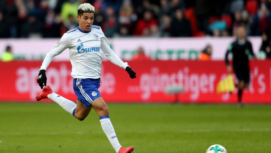 LEVERKUSEN, GERMANY - FEBRUARY 25: Amine Harit of Schalke runs with the ball during the Bundesliga match between Bayer 04 Leverkusen and FC Schalke 04 at BayArena on February 25, 2018 in Leverkusen, Germany. (Photo by Christof Koepsel/Bongarts/Getty Images)