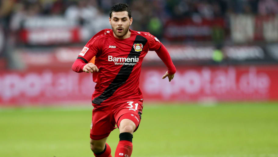 LEVERKUSEN, GERMANY - FEBRUARY 10: Kevin Volland of Leverkusen runs with the ball during the Bundesliga match between Bayer 04 Leverkusen and Hertha BSC at BayArena on February 10, 2018 in Leverkusen, Germany. The match between Leverkusen and Hertha ended 0-2. (Photo by Christof Koepsel/Bongarts/Getty Images)