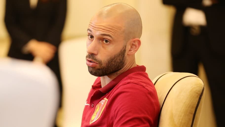 Argentina's Javier Mascherano speaks at a briefing in Wuhan, in China's central Hubei province on March 1, 2018.   Mascherano joined Hebei China Fortune for the Chinese Super League season. / AFP PHOTO / - / China OUT        (Photo credit should read -/AFP/Getty Images)