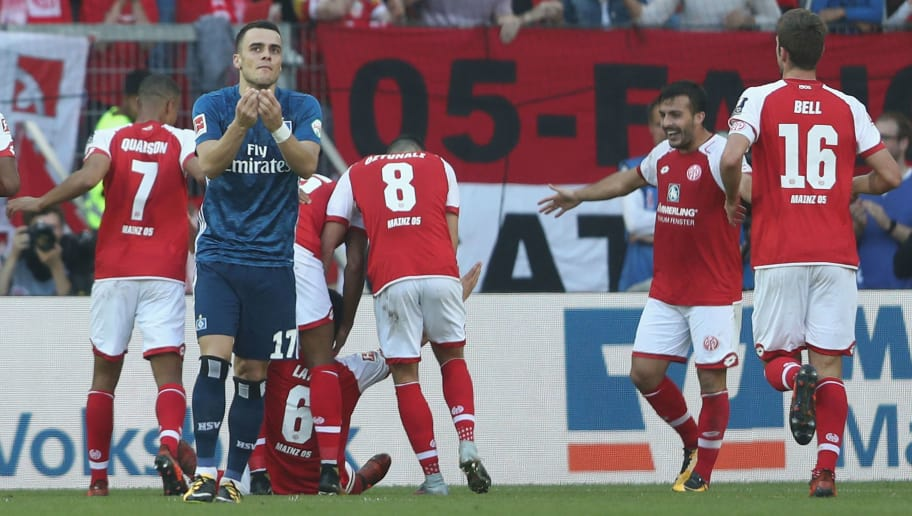 MAINZ, GERMANY - OCTOBER 14: Filip Kostic of Hamburger SV looks dejected after the third goal of Mainz during the Bundesliga match between 1. FSV Mainz 05 and Hamburger SV at Opel Arena on October 14, 2017 in Mainz, Germany.  (Photo by Christof Koepsel/Bongarts/Getty Images)