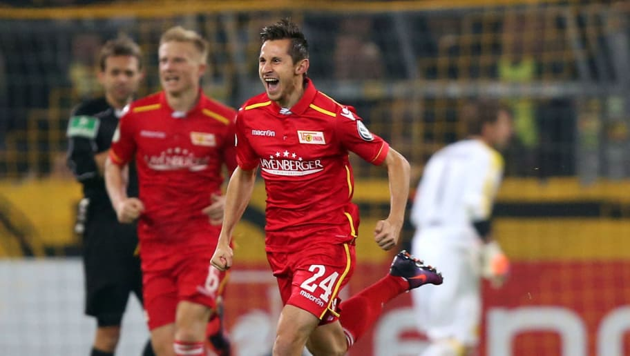 DORTMUND, GERMANY - OCTOBER 26:  Steven Skrzybski of Berlin celebrates after he scores the equalizing goal during DFB Cup second round match between Borussia Dortmund and 1. FC Union Berlin at Signal Iduna Park on October 26, 2016 in Dortmund, Germany.  (Photo by Maja Hitij/Bongarts/Getty Images)
