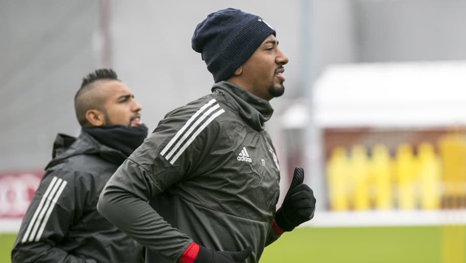 MUNICH, GERMANY - FEBRUARY 19: Arturo Vidal and Jerome Boateng of FC Bayern Muenchen during a training session ahead the champions league match between FC Bayern Munich and Besiktas Istanbul on February 19, 2018 in Munich, Germany. (Photo by Jan Hetfleisch/Bongarts/Getty Images)