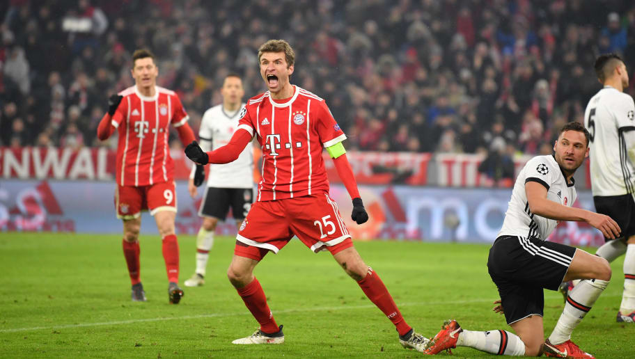 MUNICH, GERMANY - FEBRUARY 20: Thomas Mueller of Bayern Muenchen celebrates after scoring his teams third goal during the UEFA Champions League Round of 16 First Leg match between Bayern Muenchen and Besiktas at Allianz Arena on February 20, 2018 in Munich, Germany. (Photo by Sebastian Widmann/Bongarts/Getty Images)