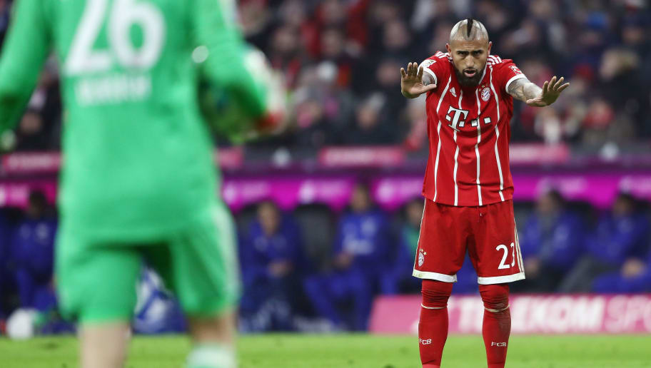 MUNICH, GERMANY - FEBRUARY 10: Arturo Vidal of Muenchen reacts during the Bundesliga match between FC Bayern Muenchen and FC Schalke 04 at Allianz Arena on February 10, 2018 in Munich, Germany.  (Photo by Alex Grimm/Bongarts/Getty Images)