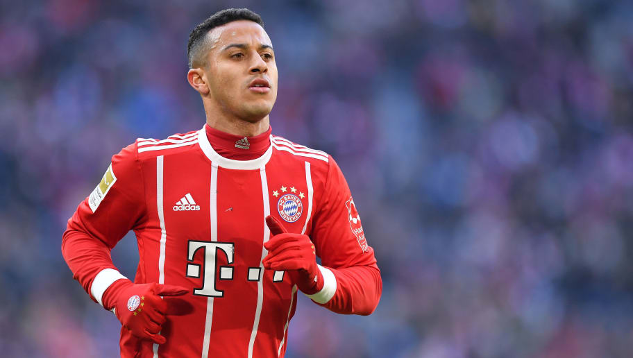 MUNICH, GERMANY - FEBRUARY 24: Thiago Alcantara of Bayern Muenchen looks on during the Bundesliga match between FC Bayern Muenchen and Hertha BSC at Allianz Arena on February 24, 2018 in Munich, Germany. (Photo by Sebastian Widmann/Bongarts/Getty Images)