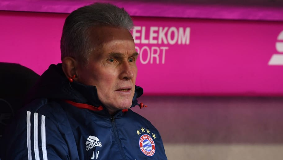 MUNICH, GERMANY - FEBRUARY 24: Head coach Jupp Heynckes of Bayern Muenchen looks on prior to the Bundesliga match between FC Bayern Muenchen and Hertha BSC at Allianz Arena on February 24, 2018 in Munich, Germany. (Photo by Sebastian Widmann/Bongarts/Getty Images)