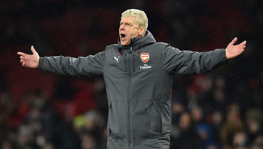 Arsenal's French manager Arsene Wenger gestures on the touchline during the English Premier League football match between Arsenal and Manchester City at the Emirates Stadium in London on March 1, 2018.  / AFP PHOTO / Glyn KIRK / RESTRICTED TO EDITORIAL USE. No use with unauthorized audio, video, data, fixture lists, club/league logos or 'live' services. Online in-match use limited to 75 images, no video emulation. No use in betting, games or single club/league/player publications.  /         (Photo credit should read GLYN KIRK/AFP/Getty Images)
