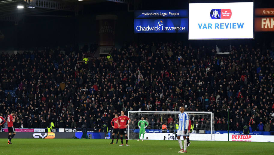 HUDDERSFIELD, ENGLAND - FEBRUARY 17:  General view inside the stadium, as players await the video assistant referee review during the The Emirates FA Cup Fifth Round between Huddersfield Town v Manchester United on February 17, 2018 in Huddersfield, United Kingdom.  (Photo by Gareth Copley/Getty Images)