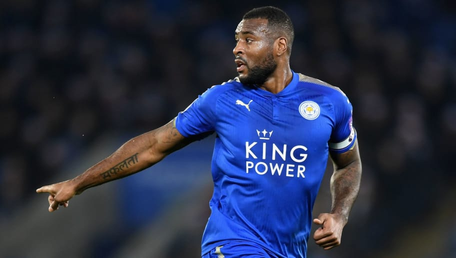 LEICESTER, ENGLAND - DECEMBER 23: Wes Morgan of Leicester City in action during the Premier League match between Leicester City and Manchester United at The King Power Stadium on December 23, 2017 in Leicester, England.  (Photo by Michael Regan/Getty Images)
